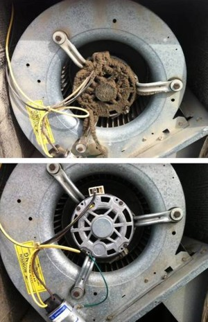 Blower before and after air conditioning maintenance